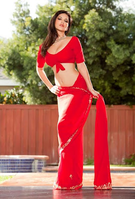 Sunny Leone In Hot Red Saree